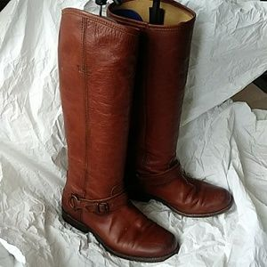 Frye Tall Harness Brown Boots 6.5